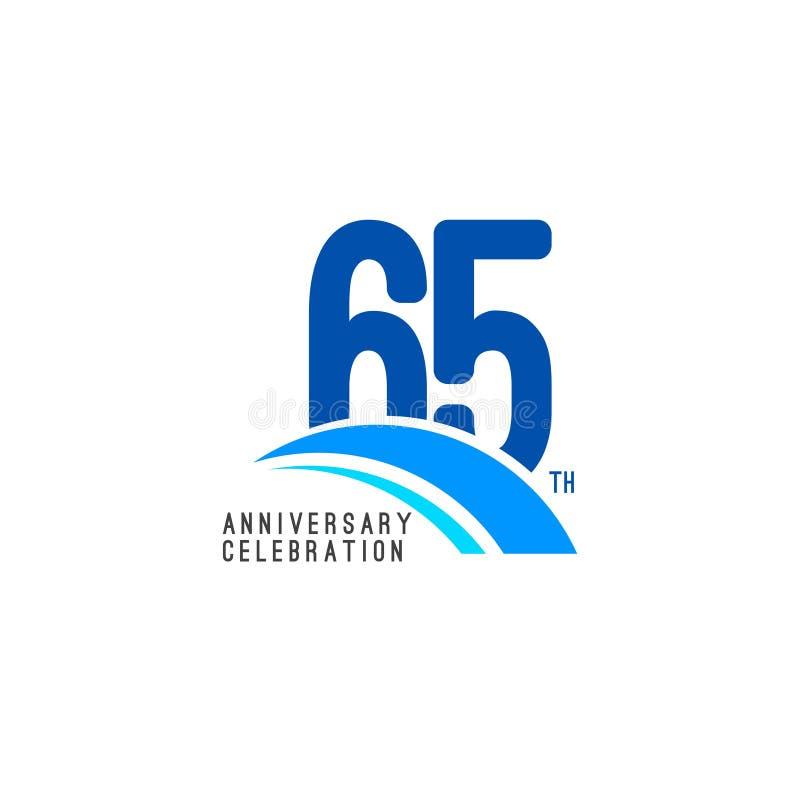 Illustrazione di progettazione del modello di vettore di celebrazione di anniversario di 65 anni illustrazione vettoriale