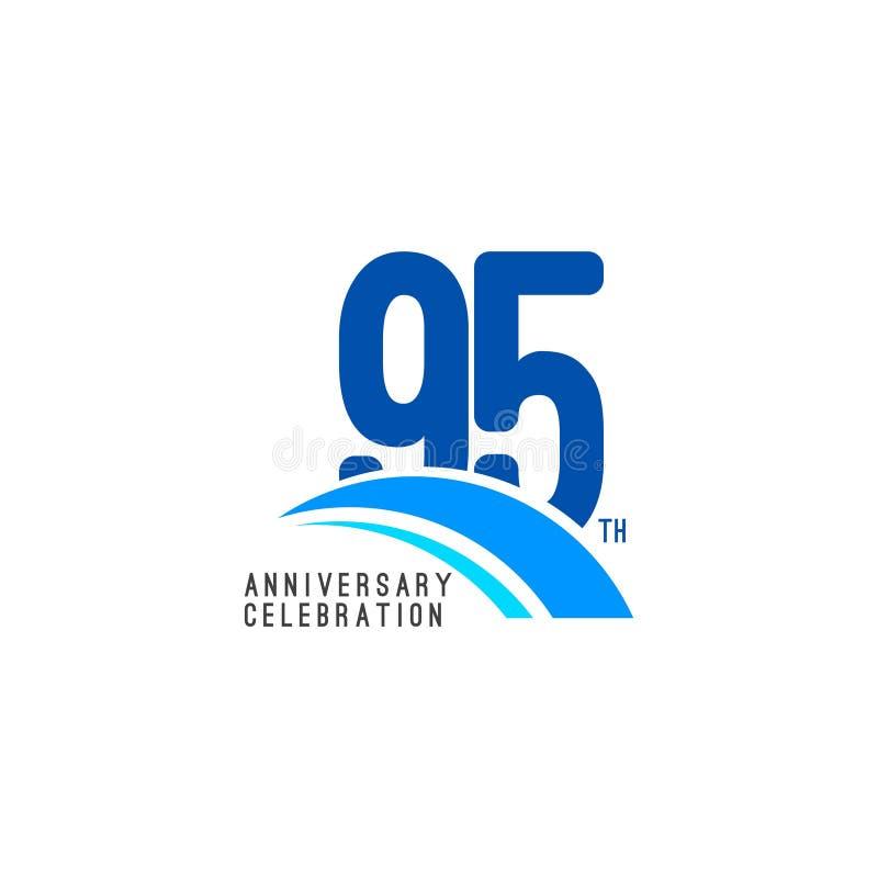 Illustrazione di progettazione del modello di vettore di celebrazione di anniversario di 95 anni royalty illustrazione gratis