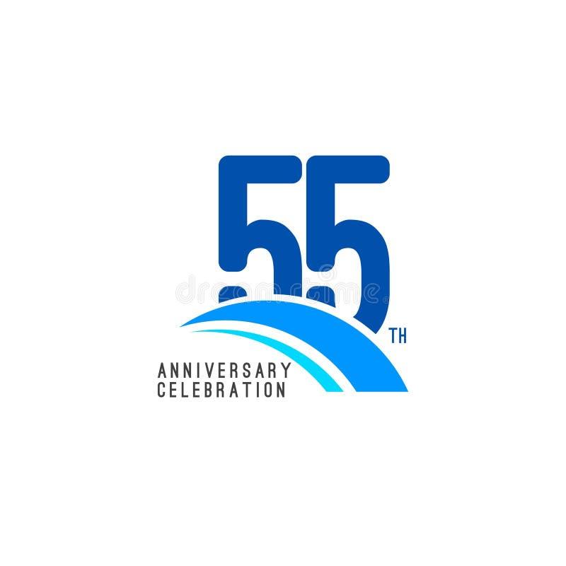 Illustrazione di progettazione del modello di vettore di celebrazione di anniversario di 55 anni illustrazione di stock