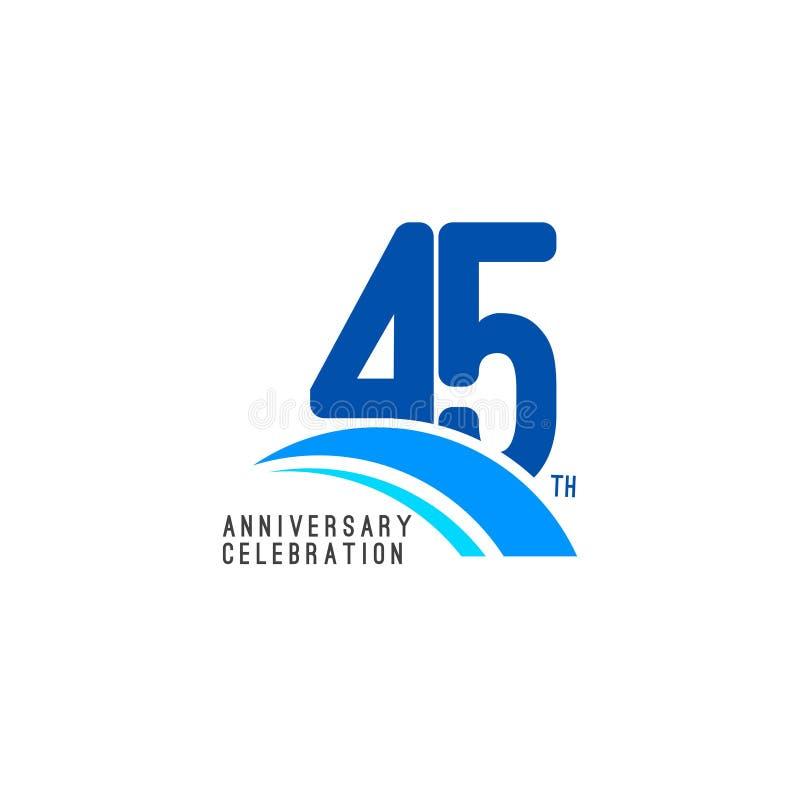 Illustrazione di progettazione del modello di vettore di celebrazione di anniversario di 45 anni illustrazione vettoriale