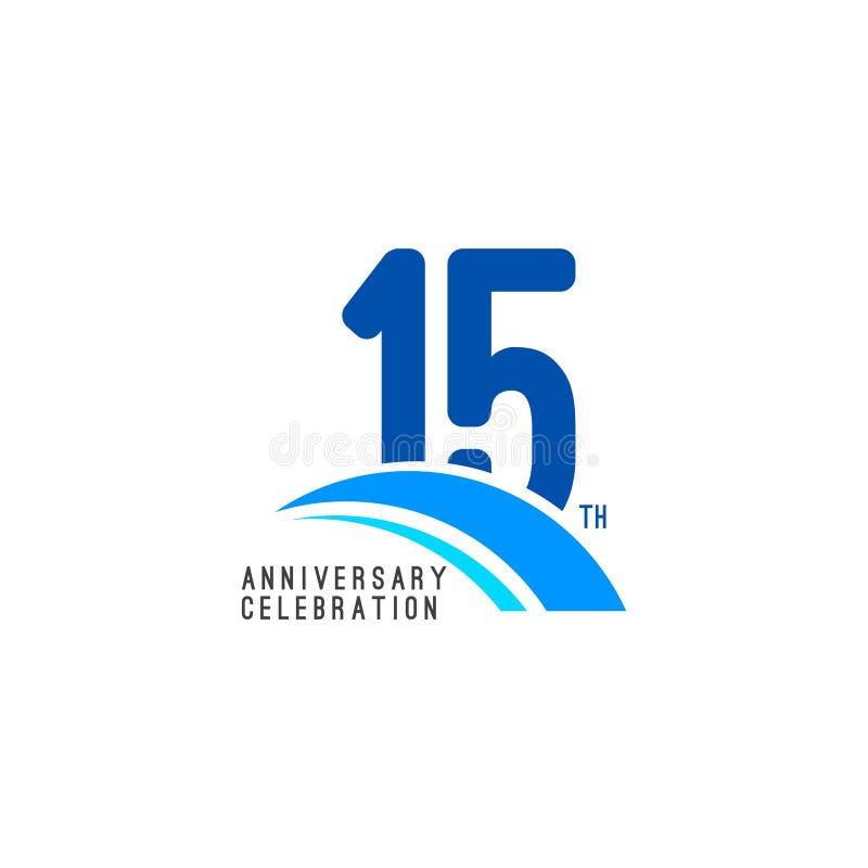 Illustrazione di progettazione del modello di vettore di celebrazione di anniversario di 15 anni illustrazione di stock