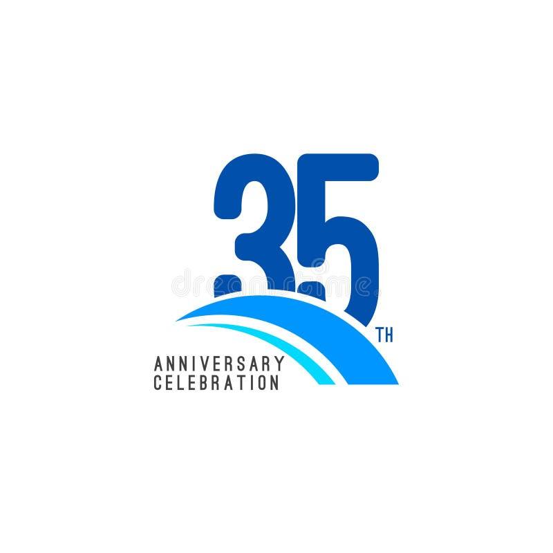 Illustrazione di progettazione del modello di vettore di celebrazione di anniversario di 35 anni royalty illustrazione gratis