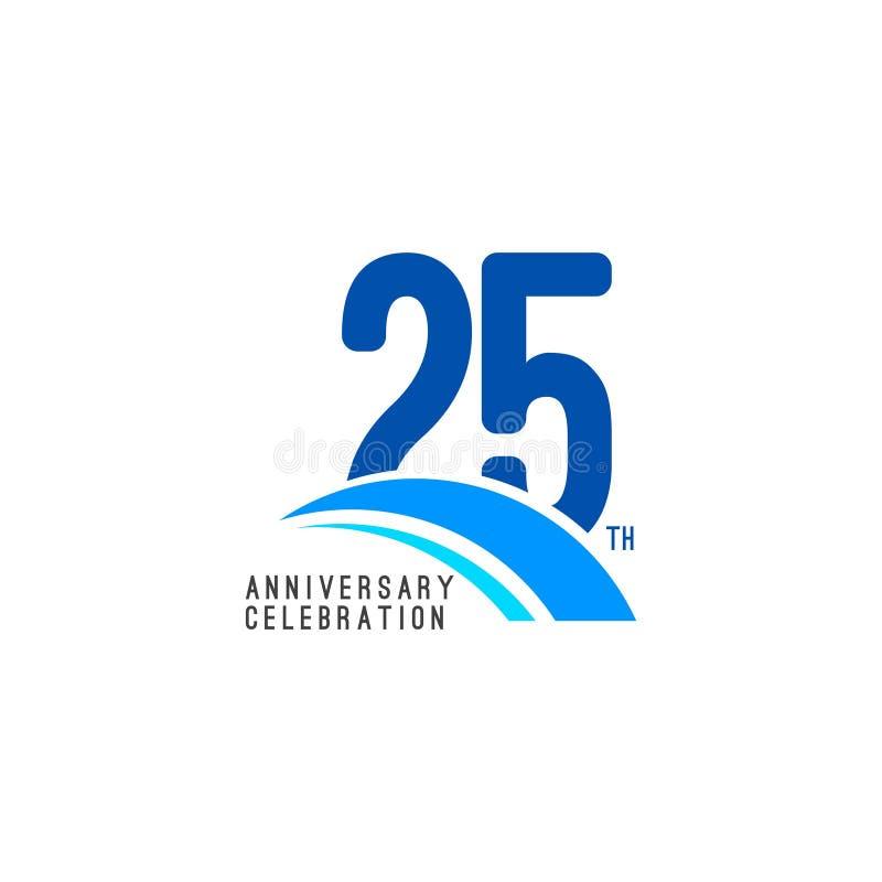 Illustrazione di progettazione del modello di vettore di celebrazione di anniversario di 25 anni illustrazione vettoriale