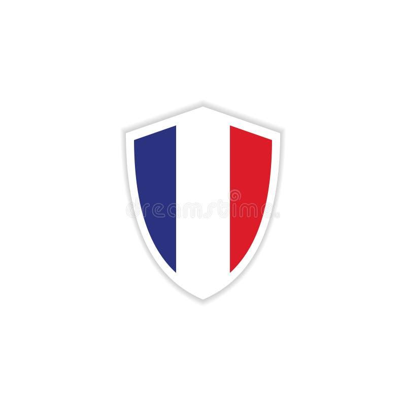 Illustrazione di progettazione del modello di vettore dell'emblema della bandiera della Francia illustrazione di stock