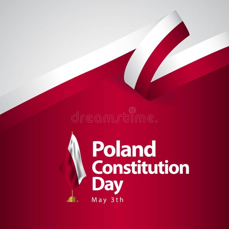 Illustrazione di progettazione del modello di vettore della bandiera di giorno di costituzione della Polonia illustrazione di stock