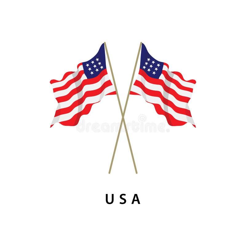Illustrazione di progettazione del modello di vettore della bandiera di U.S.A. royalty illustrazione gratis