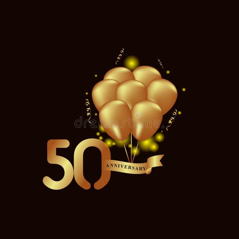Illustrazione di progettazione del modello di vettore del pallone dell'oro di anniversario di 50 anni illustrazione di stock
