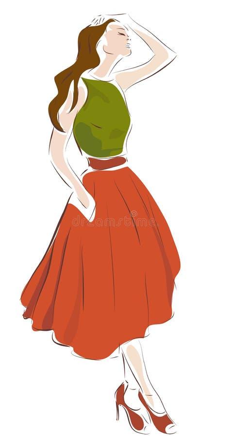 Illustrazione di progettazione di modo di una donna illustrazione di stock