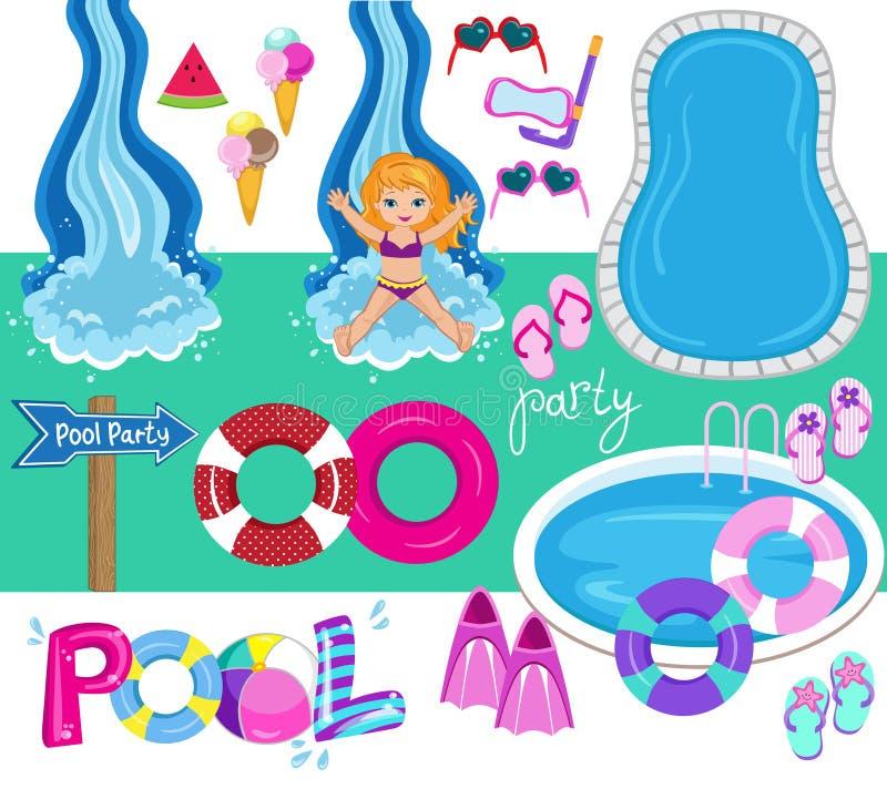 Illustrazione di progettazione di vettore della festa in piscina royalty illustrazione gratis