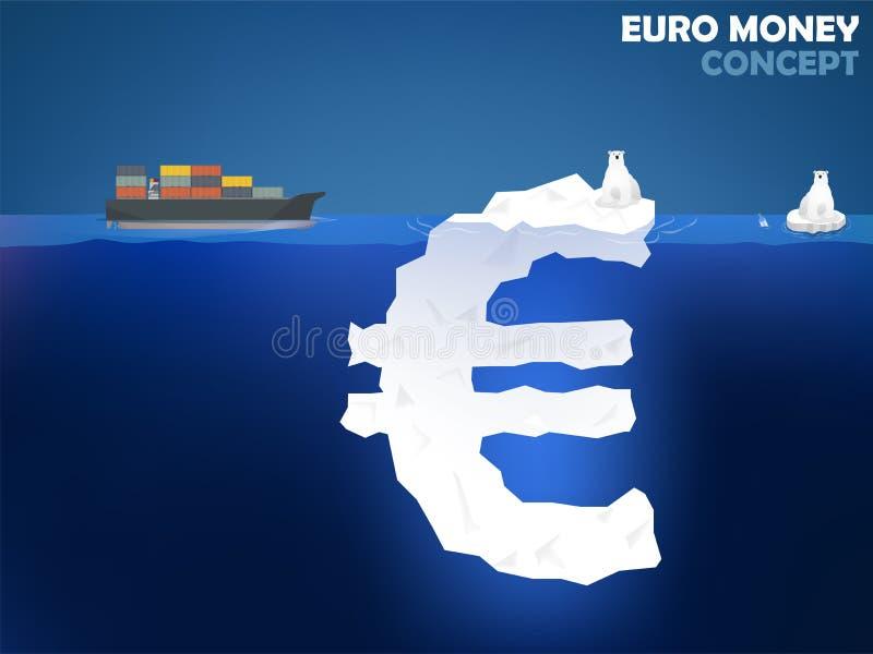 Illustrazione di progettazione grafica di euro simbolo dei soldi come iceberg nell'oceano royalty illustrazione gratis