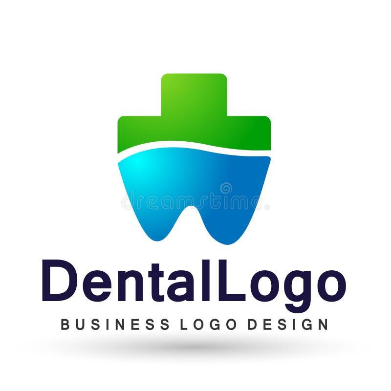 Illustrazione di progettazione di logo di vettore per il trattamento dentario dei denti di pratica del dentista di sanità della c illustrazione vettoriale