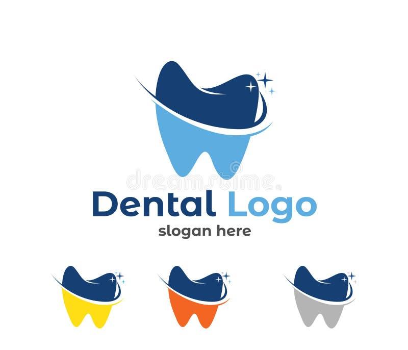Illustrazione di progettazione di logo di vettore per la sanità dentaria della clinica, la pratica del dentista, il trattamento d illustrazione vettoriale