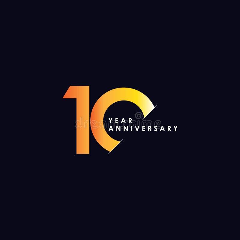 Illustrazione di progettazione di vettore di anniversario di 10 anni royalty illustrazione gratis