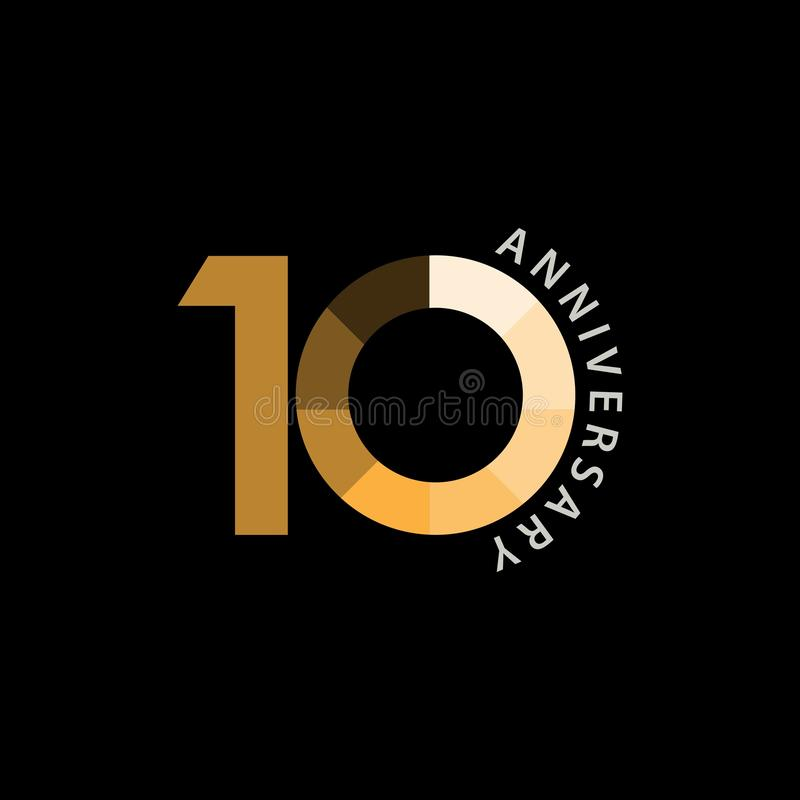Illustrazione di progettazione di vettore di anniversario di 10 anni illustrazione di stock