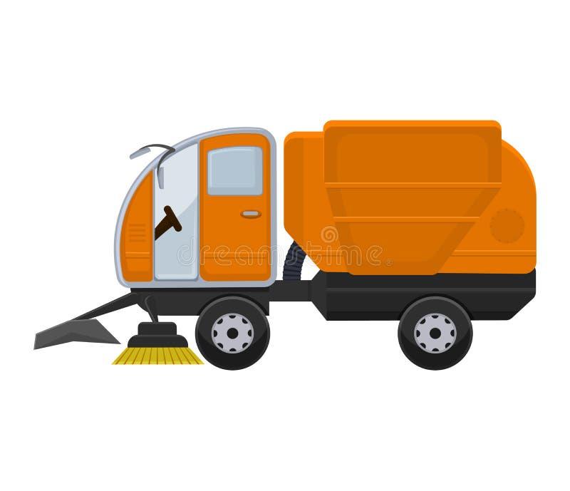 Illustrazione di pulizia delle vie della città del lavaggio del pulitore della spazzatrice del camion del veicolo di vettore dell illustrazione vettoriale