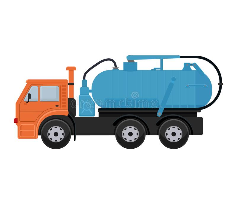 Illustrazione di pulizia delle vie della città del lavaggio del pulitore della spazzatrice del camion del veicolo di vettore dell illustrazione di stock