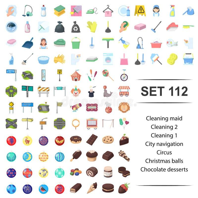Illustrazione di pulizia, domestica, città, navigazione, insieme di vettore dell'icona del dessert del cioccolato della palla di  illustrazione vettoriale