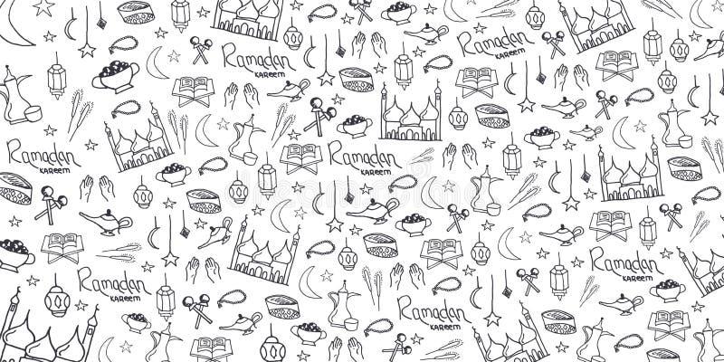 Illustrazione di Ramadan Kareem con il fondo di scarabocchio di tiraggio della mano per la celebrazione del festival di comunità  illustrazione di stock