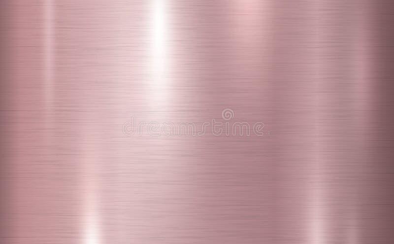 Illustrazione di rame rosa di vettore del fondo di struttura del metallo royalty illustrazione gratis