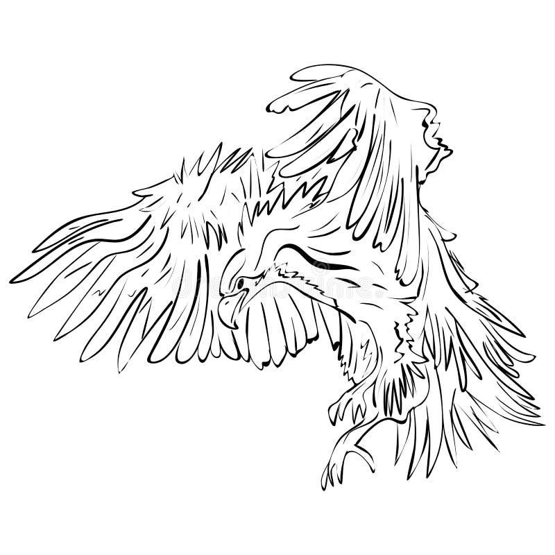 Illustrazione di Raven del nero del corvo dell'inchiostro illustrazione di stock