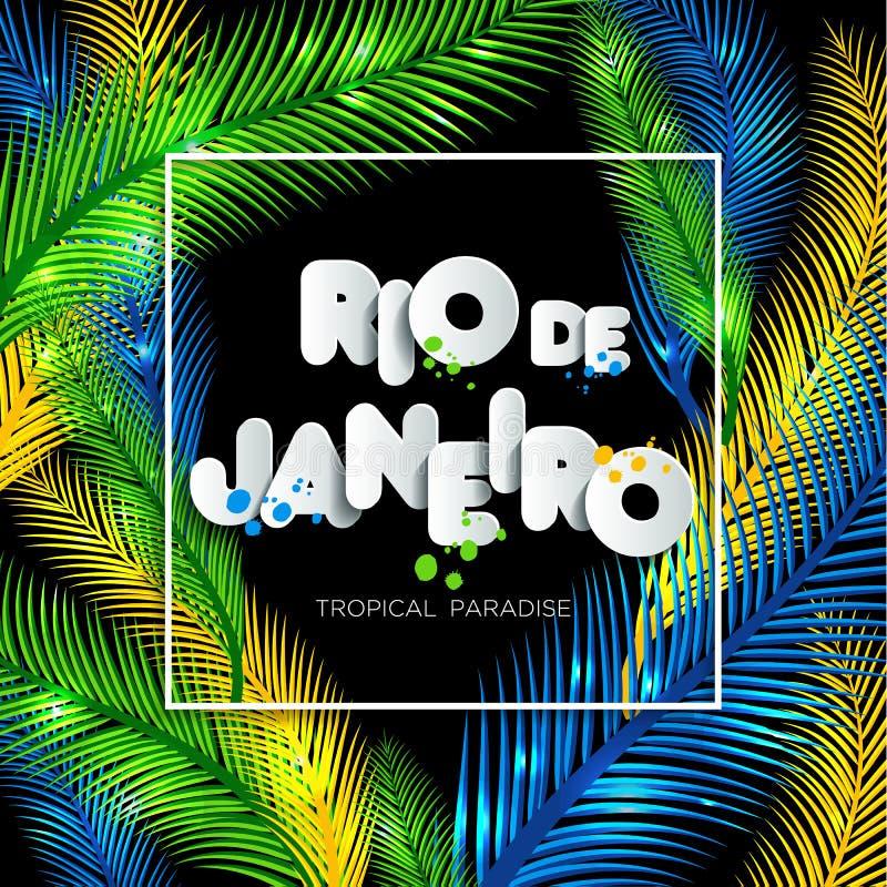 Illustrazione di Rio de Janeiro a partire dalla vacanza del Brasile sul fondo di colore, colori della bandiera brasiliana, carnev illustrazione vettoriale