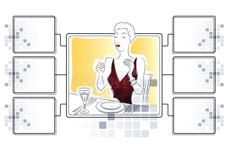Illustrazione di riserva di vettore Cibo della ragazza Modello per il infographics con le ram per informazione illustrazione di stock
