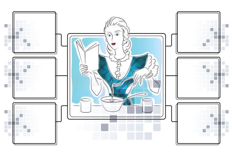 Illustrazione di riserva di vettore La ragazza sta preparando Modello per il infographics con i dadi per gli ingredienti illustrazione di stock