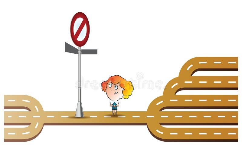 Illustrazione di riserva di vettore Ragazza prima del segno proibitivo L'uomo non conosce che cosa fare illustrazione di stock