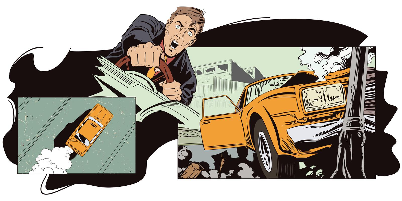 Illustrazione di riserva L'automobile si è schiantata in una colonna royalty illustrazione gratis