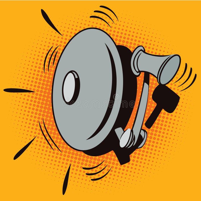 Illustrazione di riserva Obietti nel retro Pop art di stile e pubblicità dell'annata Dispositivo di allarme antincendio illustrazione di stock