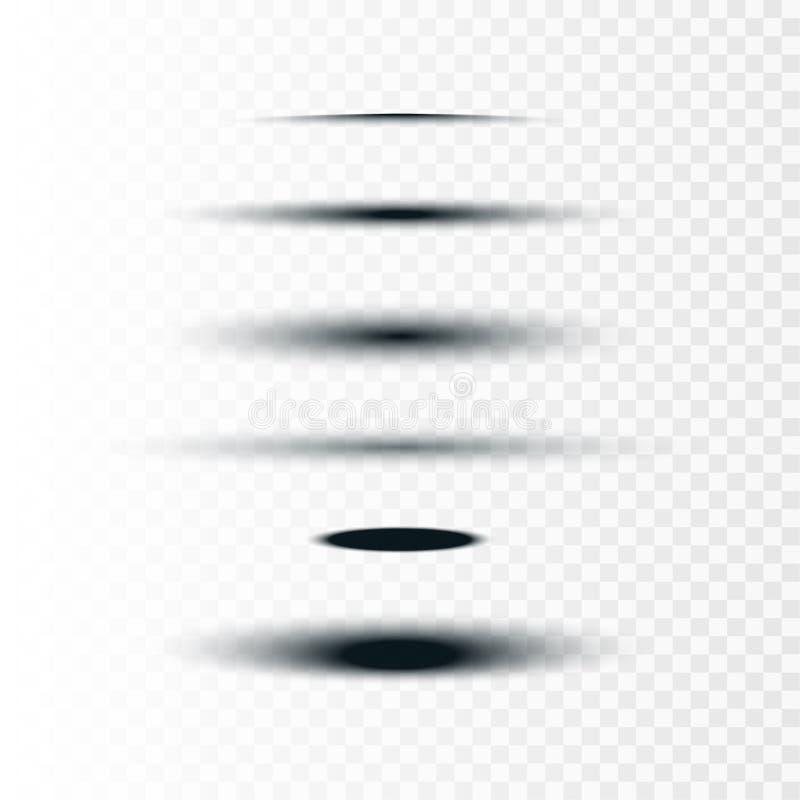 Illustrazione di riserva di vettore realistica in tondo ed insieme di ovale delle ombre isolate su fondo trasparente I divisori d illustrazione di stock