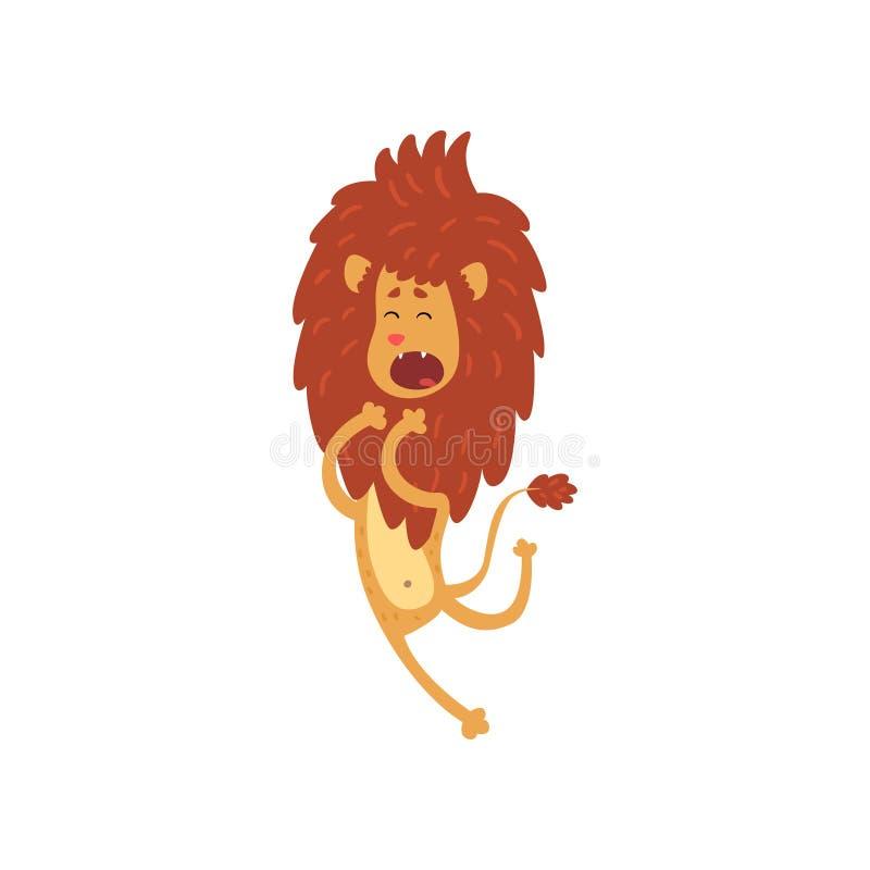 Illustrazione di salto di vettore di leone del personaggio dei cartoni animati divertente sveglio del cucciolo su un fondo bianco illustrazione vettoriale