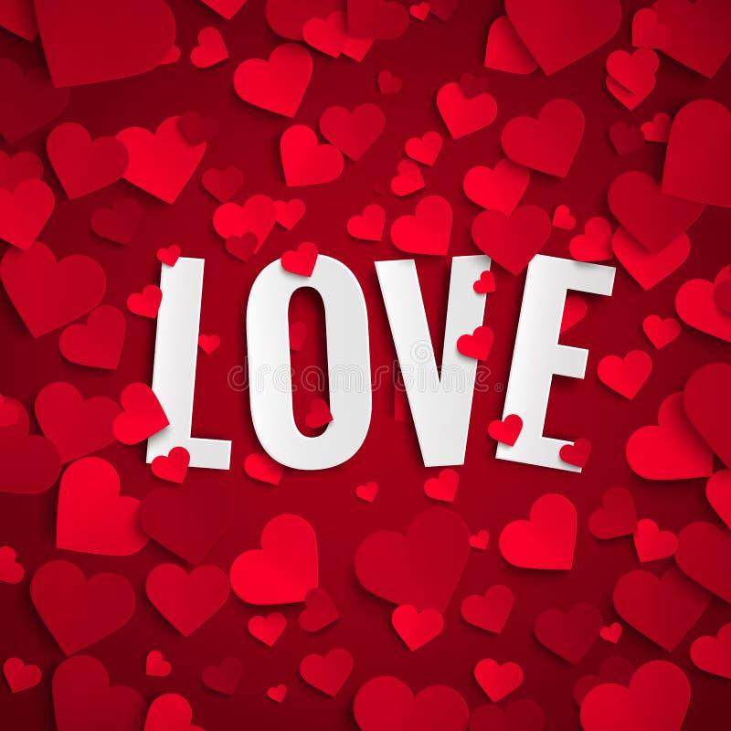 Illustrazione di San Valentino, testo di amore su fondo con i cuori di carta rossi royalty illustrazione gratis