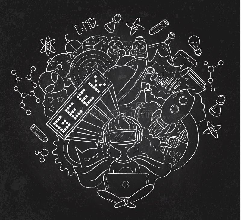 Illustrazione di scarabocchio del fumetto di vettore, fondo, carta da parati, modello, struttura, contesto, gamer del nerd del ge illustrazione vettoriale