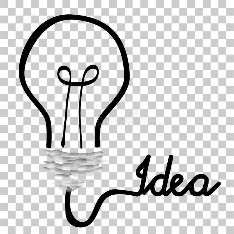 Illustrazione di scarabocchio per l'idea, isolata su bianco al fondo trasparente di effetto illustrazione di stock