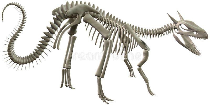 Illustrazione di scheletro delle ossa di dinosauro isolata royalty illustrazione gratis