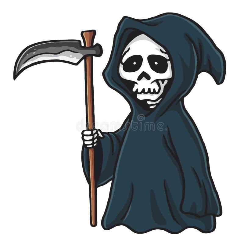Illustrazione di scheletro di vettore di Halloween del fumetto sveglio della Morte illustrazione di stock