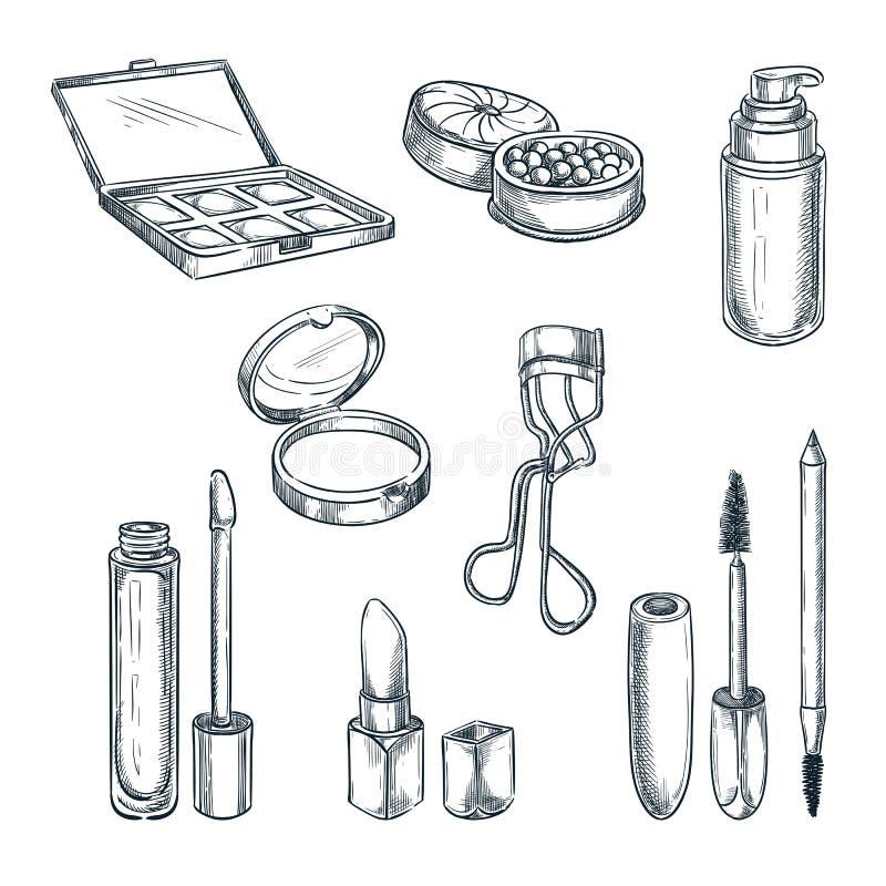 Illustrazione di schizzo dei cosmetici di trucco Elementi femminili di progettazione di modo Prodotti disegnati a mano di cura e  illustrazione di stock