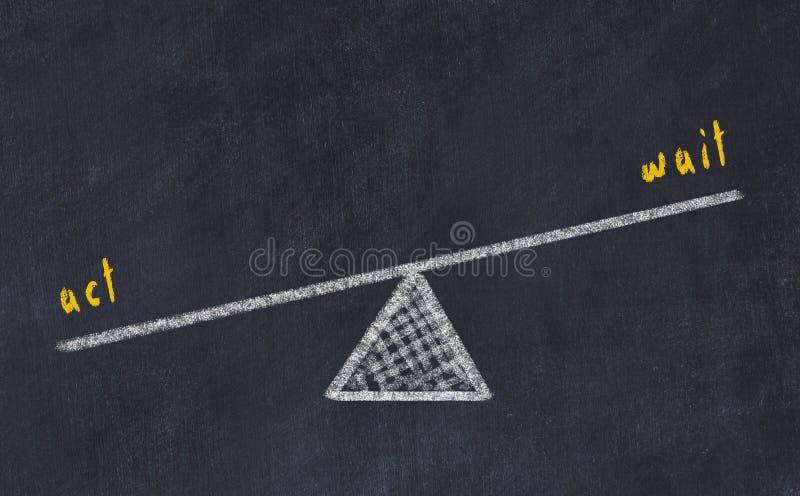 Illustrazione di schizzo del bordo di gesso Concetto di equilibrio fra l'attesa e l'atto fotografia stock libera da diritti
