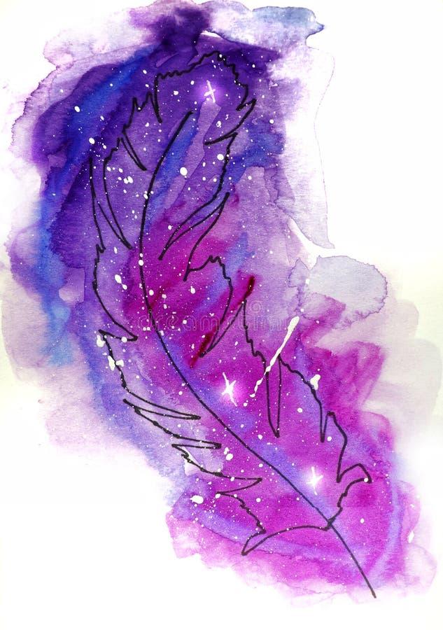 illustrazione di schizzo dell'acquerello, stile del tatuaggio: piuma di caduta di contorno su un fondo del rosa e dei punti del t immagine stock