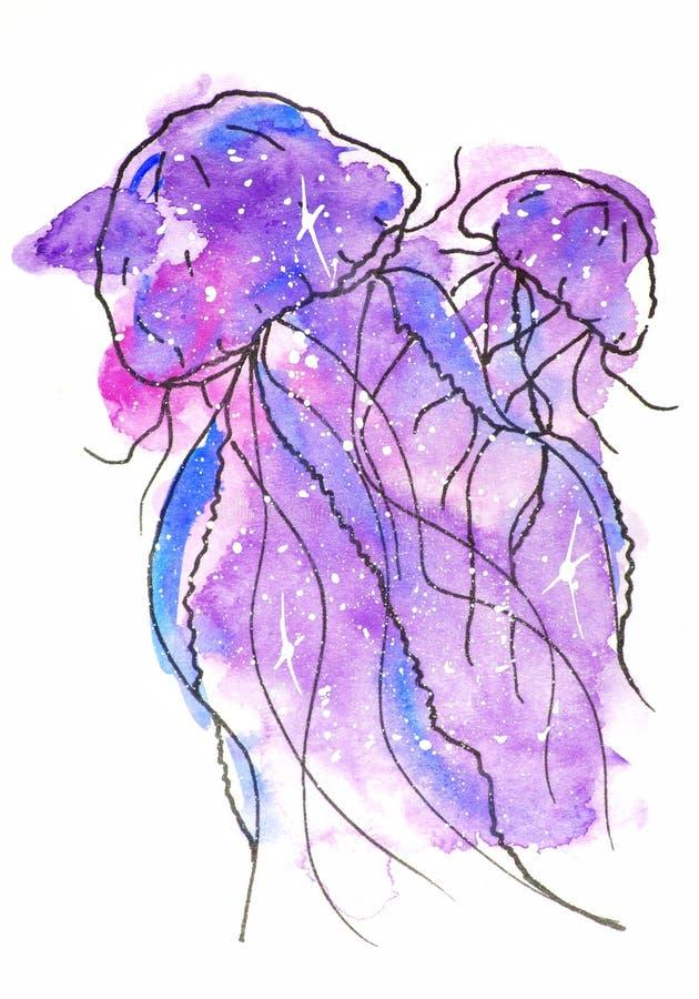 illustrazione di schizzo dell'acquerello, stile del tatuaggio: un contorno di due meduse circondate dalle bolle su un fondo del r immagine stock