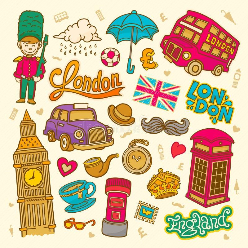 Illustrazione di schizzo di Londra, insieme degli elementi disegnati a mano dell'Inghilterra di scarabocchio di vettore, raccolta illustrazione vettoriale