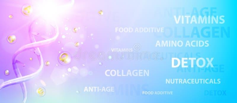 Illustrazione di scienza di una molecola del DNA Insegna chimica viola Progettazione di cura di pelle di bellezza sopra fondo blu royalty illustrazione gratis