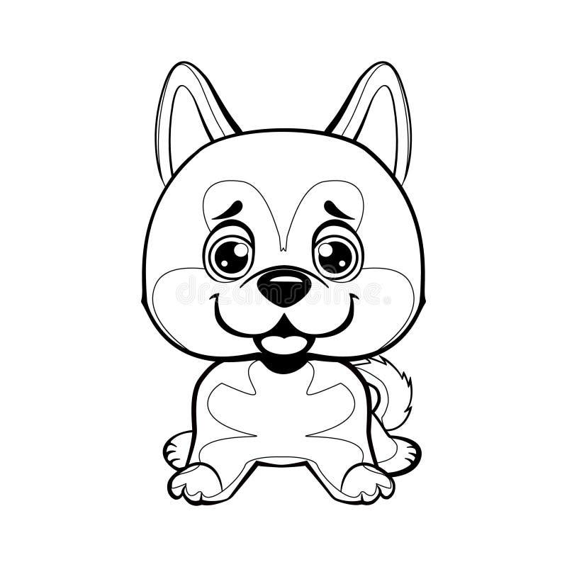 Illustrazione di seduta di Akita Inu Cane lineare adorabile Illustrazione dei bambini Animale divertente del bambino illustrazione vettoriale