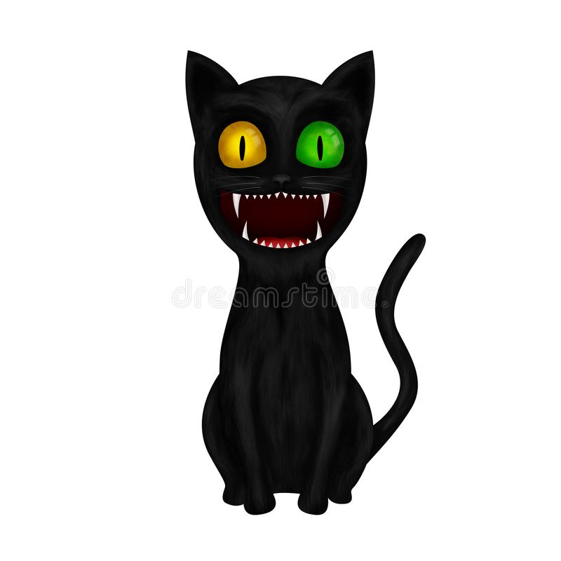 Illustrazione di seduta del gatto nero del fumetto di Smilling isolata su fondo bianco illustrazione di stock