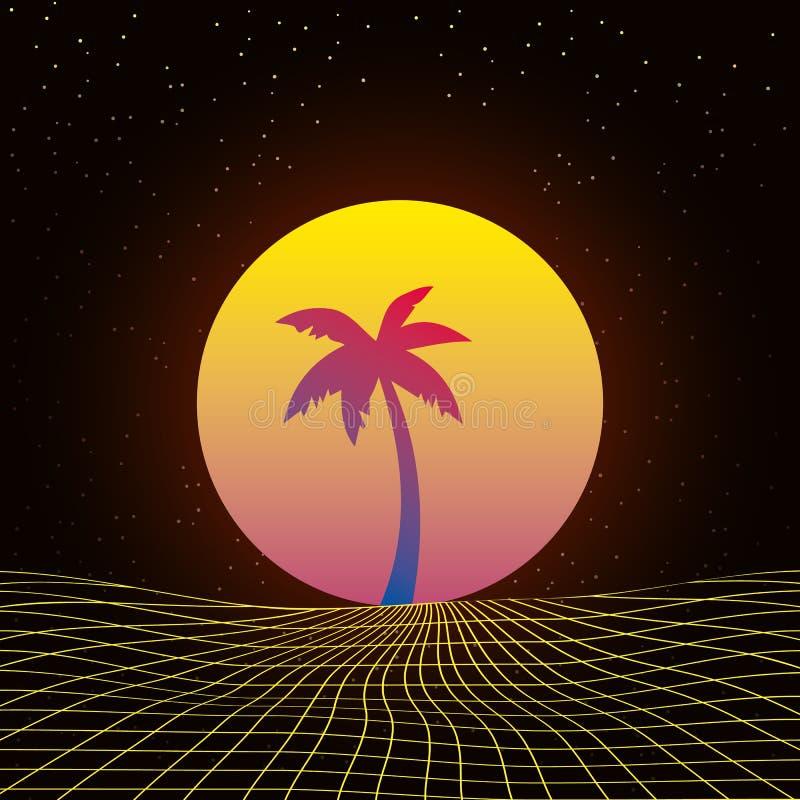 Illustrazione di sfondo 3D Ispirata da Scene 80, musica sintonizzata e retrowave illustrazione di stock