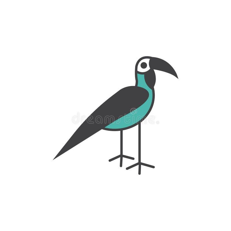 Illustrazione di simbolo del segno di vettore dell'uccello del bucero illustrazione vettoriale