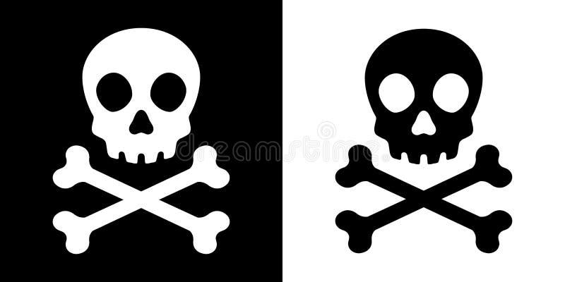 Illustrazione di simbolo grafico di logo del fantasma di Halloween dell'icona del pirata di vettore di tibie incrociate del crani illustrazione di stock