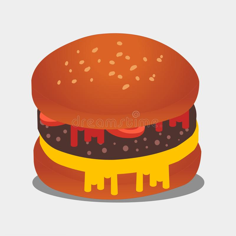 Illustrazione di simbolo di vettore del cheeseburger royalty illustrazione gratis