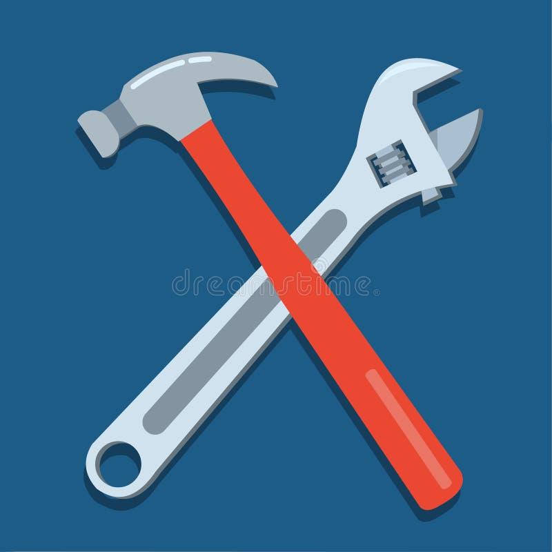 Illustrazione di simbolo di vettore della chiave inglese e del martello illustrazione di stock